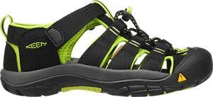 Keen Newport H2 Youth Sandal,Water Shoe, Black/Lime Green