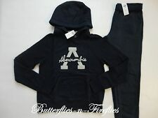 NEW NWT Abercrombie & Fitch 2pc Lounge Set Hoodie Sweatshirt Sweatpants Navy M