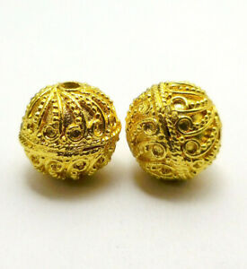 4 PCS 15MM SOLID COPPER BALI BEAD 18K GOLD PLATED 682 FUL-372