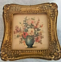 Antique Mini Gold Gilted Gesso Picture Frame with Print behind Glass 4 x4 Inches