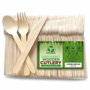 Disposable Wooden Cutlery 00   Eco-Friendly   100% All-Natural- Set of 2