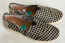 NEW! TOMS WASHED CANVAS WOMEN'S BROWN BLACK ESPADRILLE SHOES SANDALS 7.5 W 38