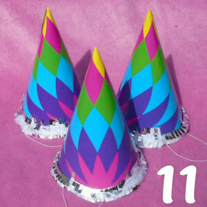 """11 Party Hats Colorful 6¼"""" Tall - NEW"""