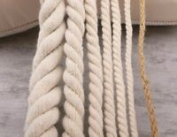 Twisted Rope String Beige Cotton Three Cord Twine Sash Craft Thick Cords DIY
