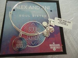 Alex and Ani SOUL SISTER Shiny Silver Charm Bangle New W/ Tag Card & Box