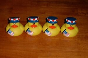 """~RUBBER DUCKY USA Uncle Sam Hats w/FLAG  2"""" Patriotic ~ Lot of 4 Duckies"""