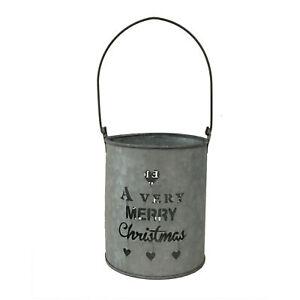 A Very Merry Christmas' Handmade Tin Bucket with a Festive Cut Out Design