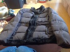 CHARTER CLUB Winter Coat Brown With Fur Along Zipper And Neck Size M Medium