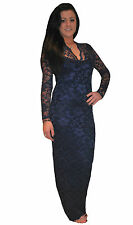 John Zack Navy Long Maxi Lace Body Con Evening Party Formal Dress New 8 - 16