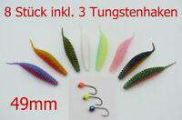 8 Forellenköder, 49mm, Trout Worm, Trout Bait, Gummiköder mit 3 Tungstenhaken