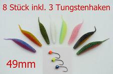 8x Forellenköder, 49mm, Trout Bait, Gummiköder, inkl 3 Tungstenhaken, Trout Worm