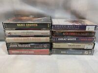 (10 Cassette Lot) Lita Ford Bruce Willis John McEuen Nanci Griffith Great White