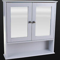 BATHROOM WALL CABINET WHITE DOUBLE MIRROR DOOR WOODEN SHELF BATHROOM STORAGE