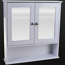 BATHROOM WALL CABINET WHITE DOUBLE MIRROR DOOR WOODEN SHELF BATHROOM STORAGE