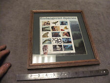 US Stamp Sheet Endangered Species, Uncanceled Set in Wood Frame  (15 Stamps)