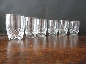 6x Stuart Crystal Carlingford Cut Whisky Glasses 1/2 Size, NOT Signed, h8,3cm