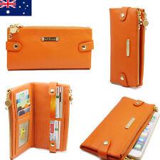 Soft Genuine Leather Double Zip Ladies Womens Wallet iPhone Purse Orange