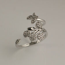 925 Silver Pltd Adjustable Flower Petal Clear Crystals Ring / Thumb Ring UK R19