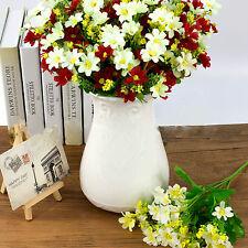 28 Heads 1 Bouquet Artificial Daisy Cineraria Silk Flowers Wedding Home Decor UK