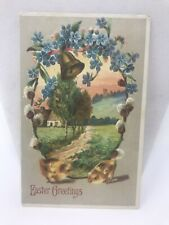 Vintage Postcard EASTER Greetings Card Made In Germany Bell Blue Flowers Design