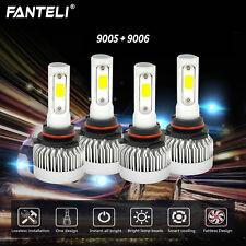 9005 9006 4PCS LED FANLESS 2620W 393000LM Combo Headlight Kit Bulbs 6000K White