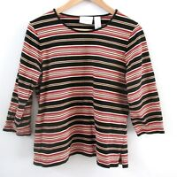 Liz Claiborne Womens Shirt Cotton Stretch Pullover Black Red Striped Size Large