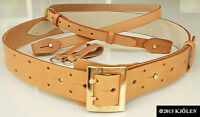 GOLD SILVER BUCKLE GOLF GENUINE LEATHER JEANS TWIN PRONG DOUBLE HOLE HERME BELT