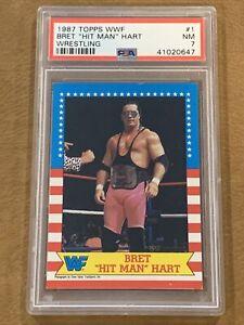 "Bret ""Hit Man"" Hart 1987 Topps WWF #1 Rookie RC PSA 7 NM"