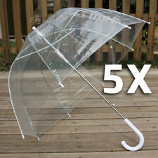 5x Clear Transparent Rain Walking Umbrella Parasol PVC Dome Wedding Party Favor