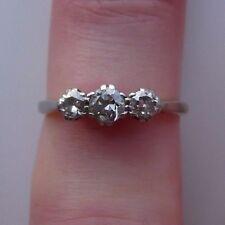 Beautiful 18ct Gold And Platinum 0.50 1/2 Carat Diamond Trilogy Ring Size M 1/2