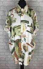 WOMENS VINTAGE RETRO 90'S BRIGHT PATTERN OVERSIZED BLOUSE SHIRT FESTIVAL UK M