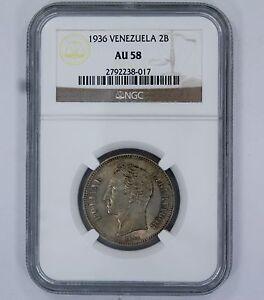 1936 VENEZUELA 2 BOLIVARES COIN - AU 58 -NGC