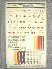 "USN/USMC 1930-41 ""INSIGNIA/EMBLEMS/COLOR BARS/NUMBERS"" MICROSCALE DECALS 1/72"