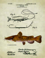 Vintage Fishing Lure Patent Print Flathead Catfish Bait Tackle Cabin Wall Decor