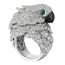 8.6CT White Topaz&Emerald Parrot 925 Silver Woman Ring Engagement Size 6-10