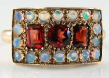 LOVELY 9K 9CT GOLD MADAGASCAN GARNET OPAL ART DECO INS RING FREE RESIZE