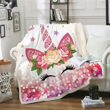Pink Unicorn Throw Blanket Cartoon Bedspread Sherpa Plush Blankets Bedding