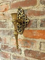 """Ornate Filigree Metal Wall Sconce Pair Candle Holder Antique Brass Finish 11"""""""