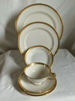 "Lenox ""Hanover""green mark. 6 piece encrusted dinnerware set,ivory background.J30"