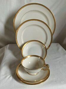 "Lenox ""Hanover""green mark. 6 piece encrusted dinnerware set,ivory background.J30"