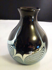 Vintage Early Steven Correia Signed Art Glass Pulled Feather Vase Deep Red Color