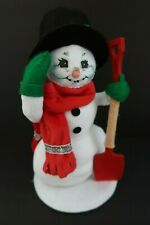 """2013 Annalee Christmas SIlver Sparkle Snowman with Shovel 9"""" 550313 Open Eyes"""
