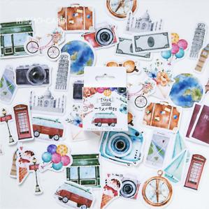 46 Pcs kids Stickers Scenery Label Decorative Stationery travel Stickers Scrapbo