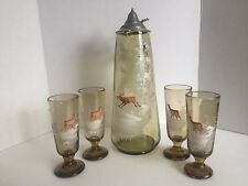 ANTIQUE MARY GREGORY BOHEMIAN GLASS TANKARD / PITCHER WITH 4 MATCHING TUMBLERS