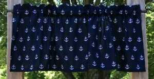Nautical White Sail Boat Anchors on Dark Navy COTTON LINED Curtain Valance