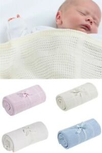 MOTHERCARE Baby Cellular Cot Blanket Cotton White Pink Blue Cream Girls Boys NEW