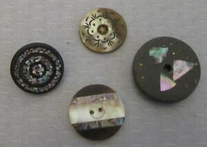 antique 4P MOTHER OF PEARL INLAY BUTTONS etched inlaid  flecks black