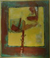 Susanne Günther Komposition mit stilisierten Pflanzen auf lichtem Grund Öl