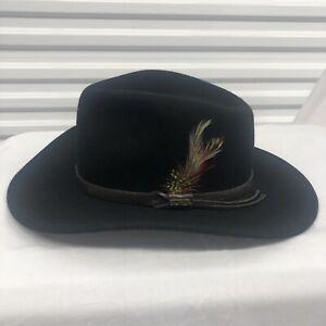 Scala Classico 100% Wool Outback Hat Black Size Medium Dorfman Pacific 4 Seasons
