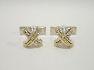 TIFFANY & CO. sterling silver / 18k yellow gold Signature X cufflinks